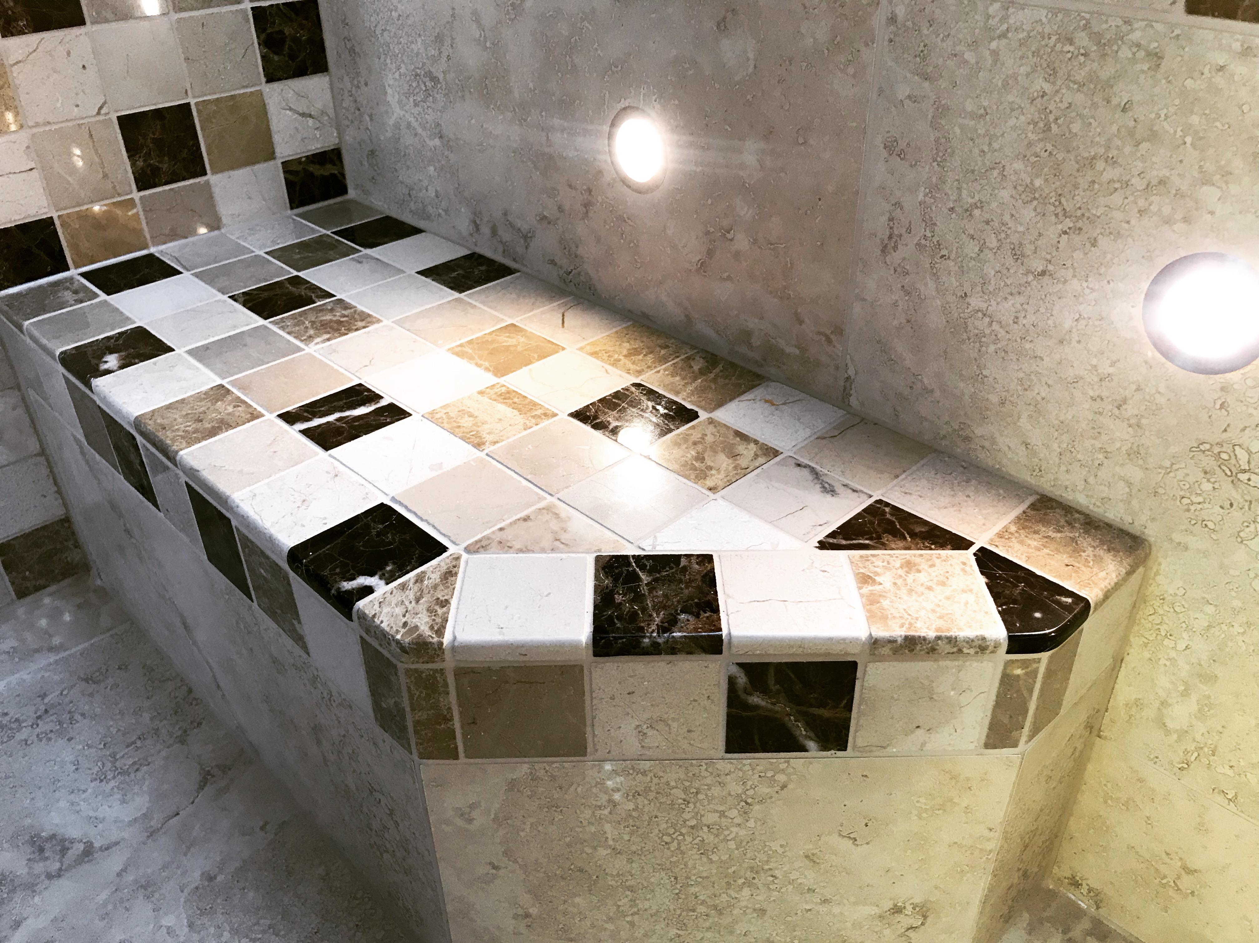 Stone mosaic step details