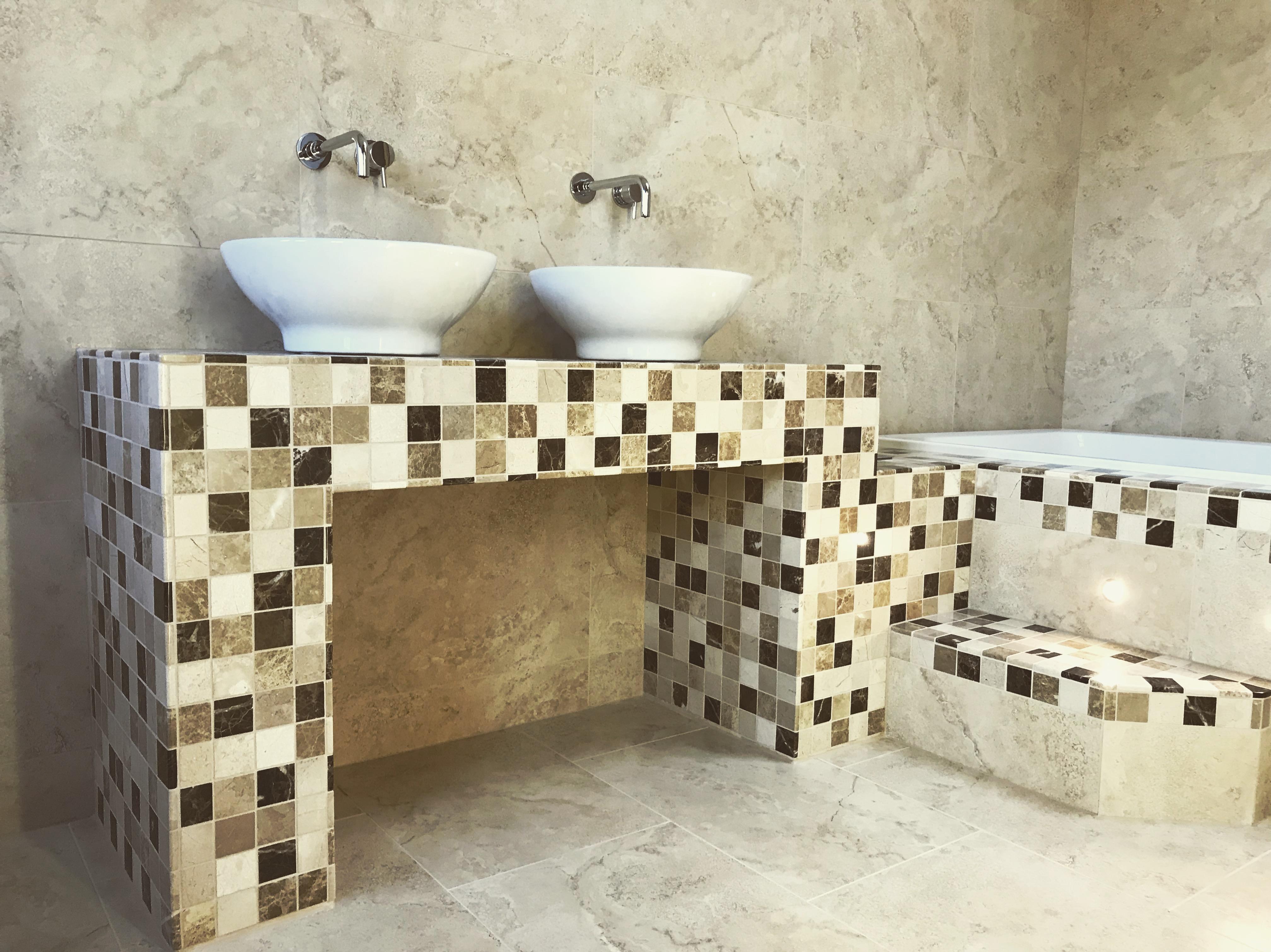 Stone mosaic bathroom table and step