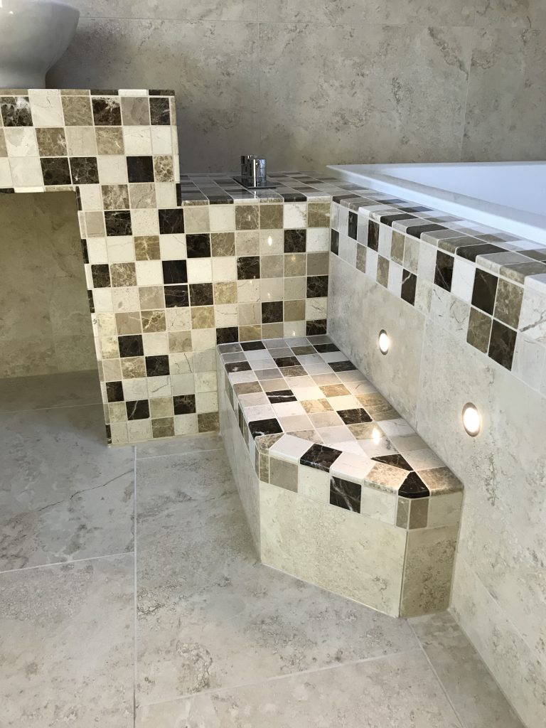 Stone mosaic tiles in bathroom