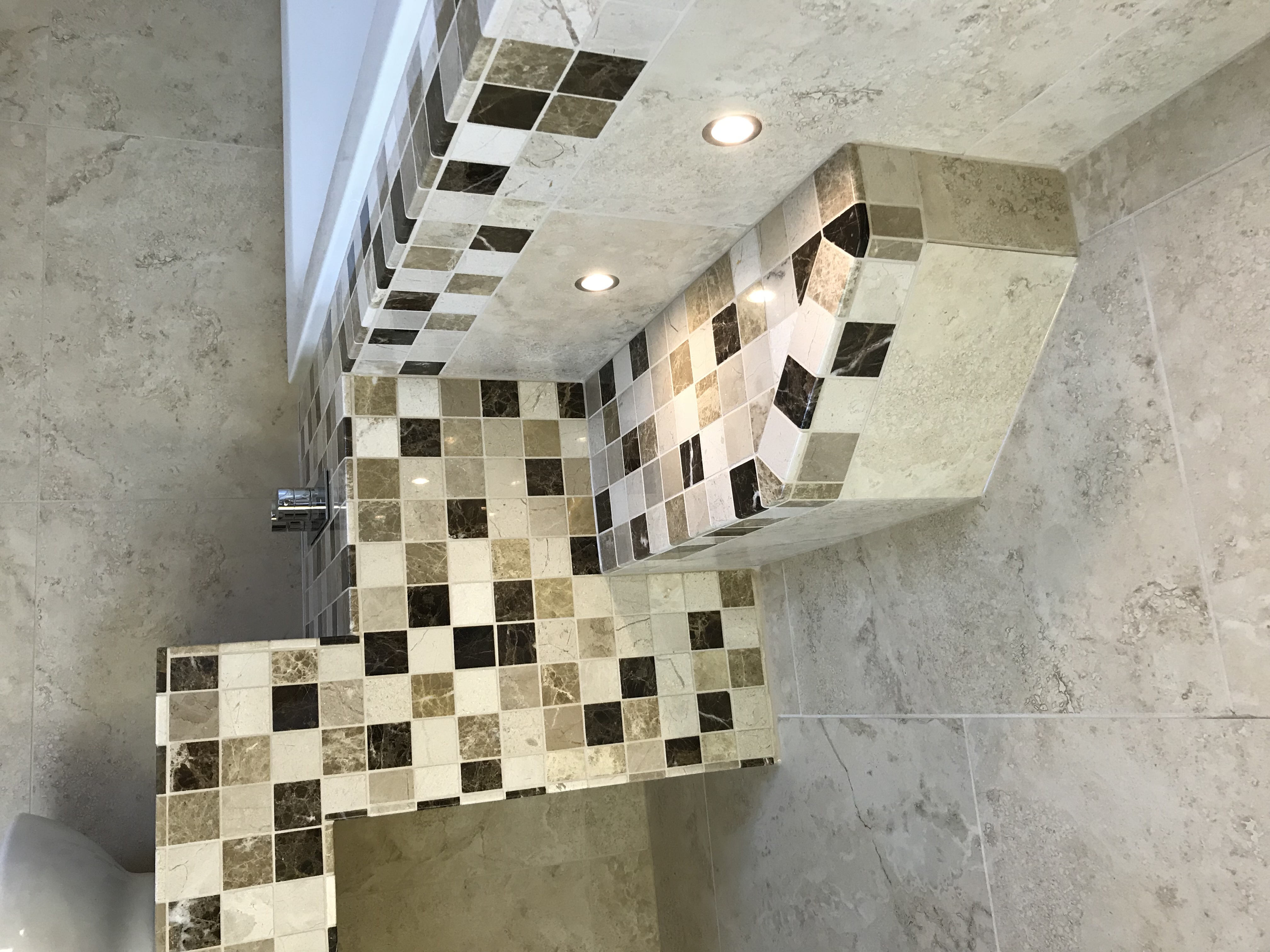 Stone mosaic tiles in bathroom