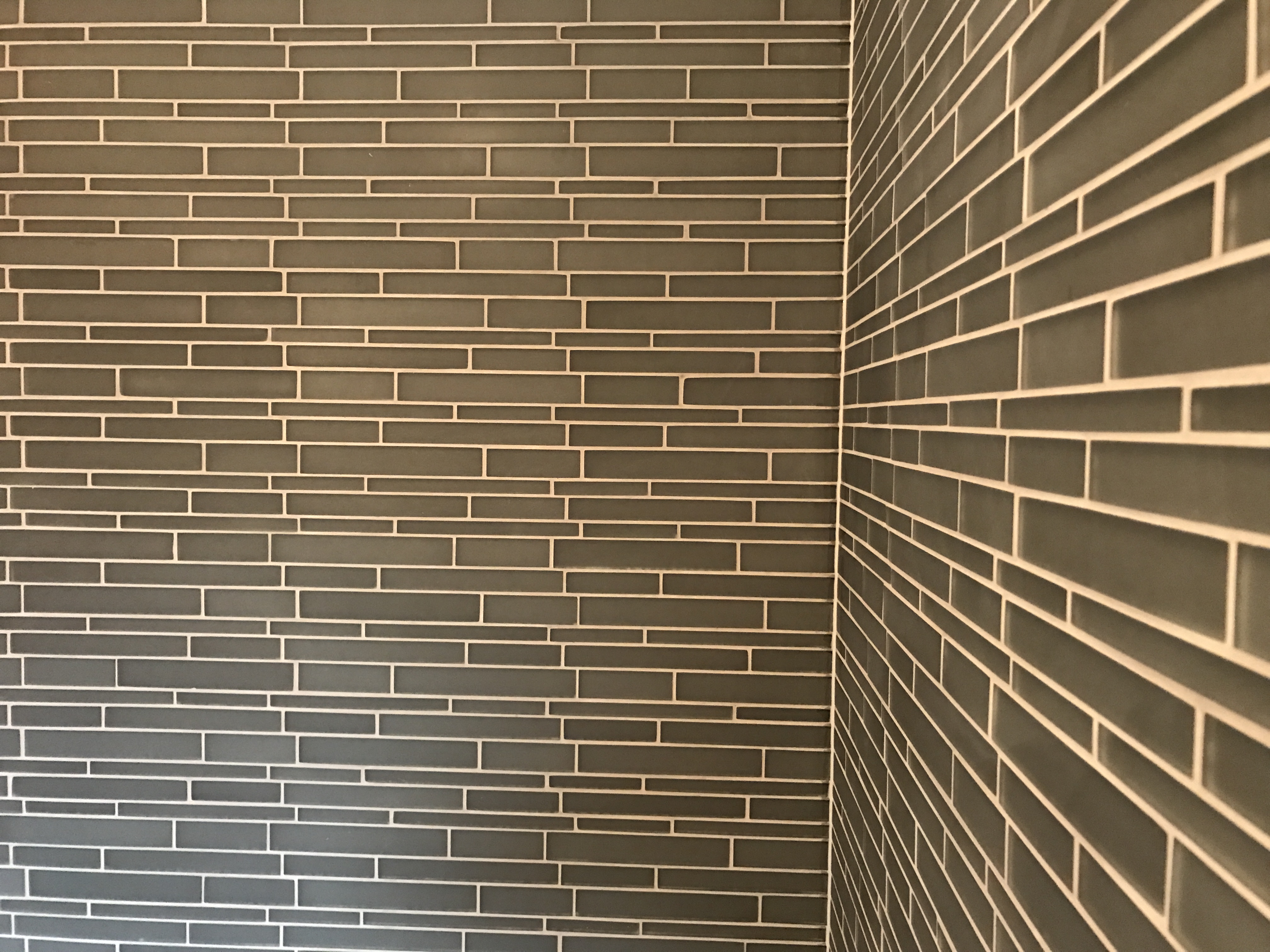 matte grey glass mosaics from Topps Tiles in Chesterfield. Installed by Andy Coldwell Tiling in Chesterfield