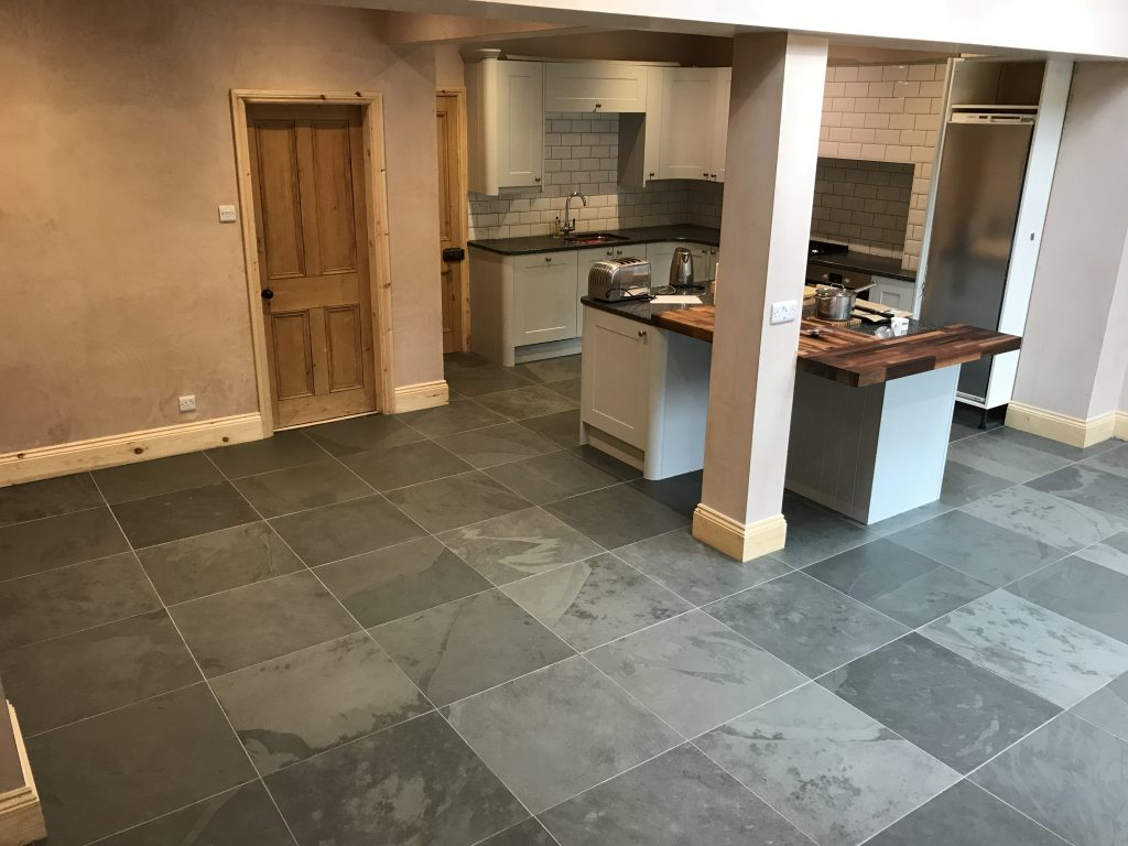 Slate floor tiles and underfloor heating in Derbyshire by Andy Coldwell Tiling