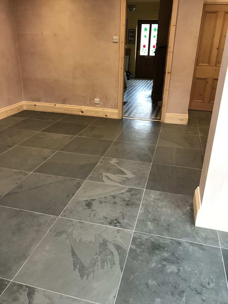 Honed slate tiles sealed with Lithofin in Derbyshire