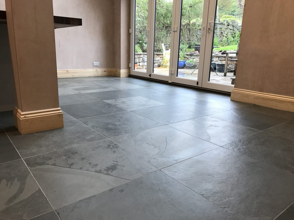 Honed slate floor tiles in Derbyshire by Andy Coldwell Tiling