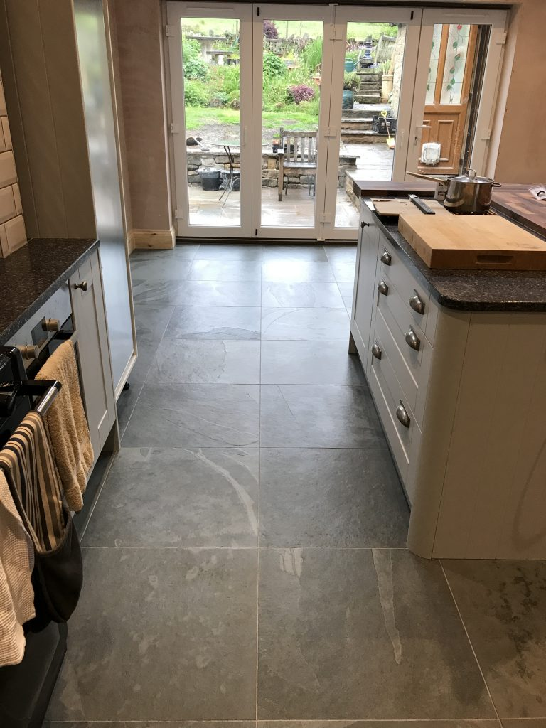 Honed slate tiles fitted in Derbyshire with underfloor heating