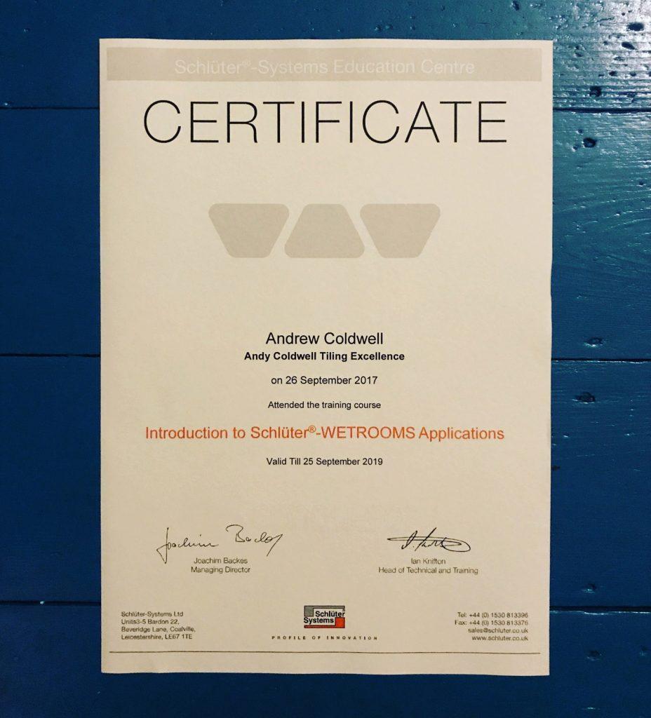 Schluter certificate