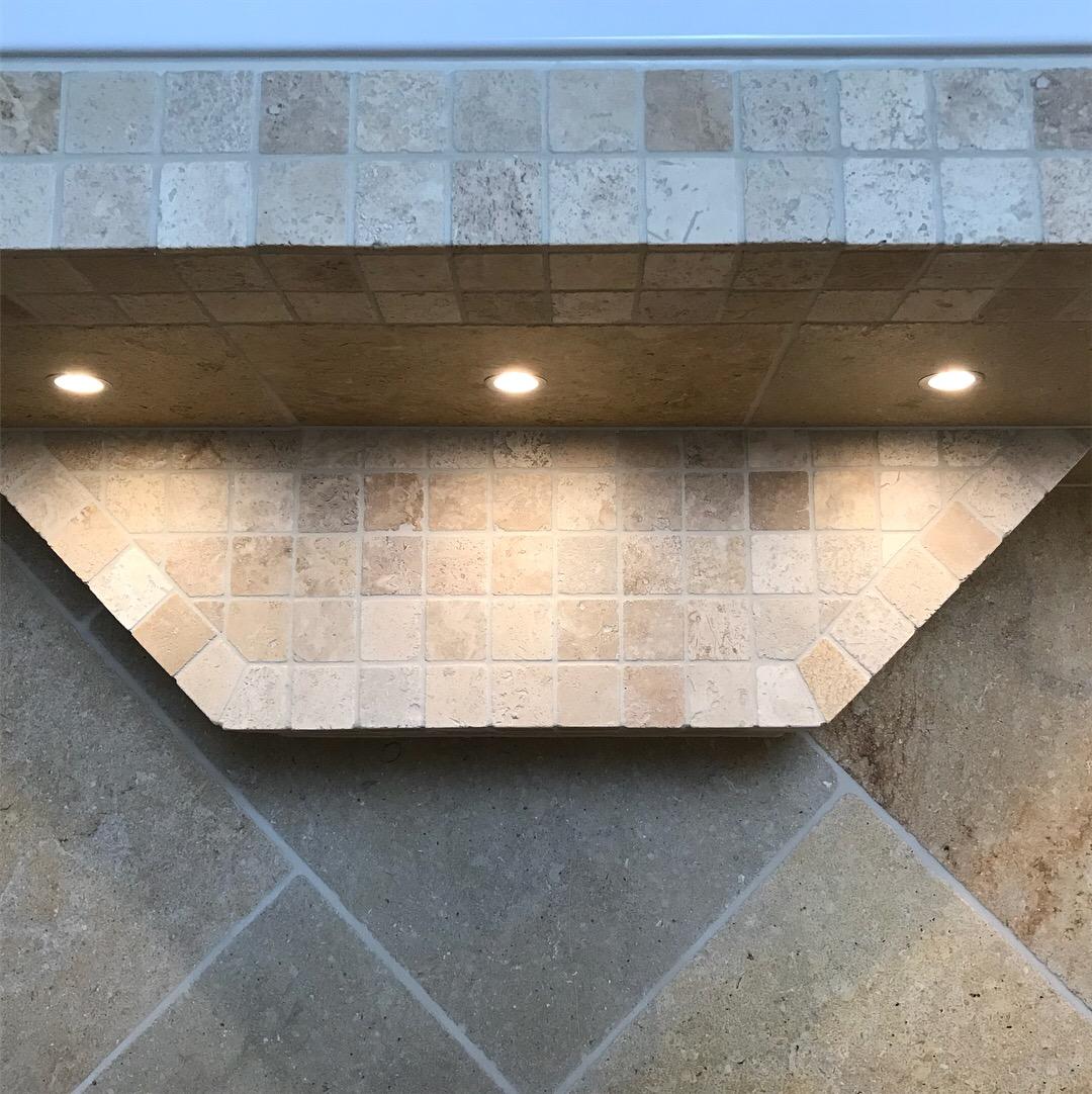 Travertine mosaic step