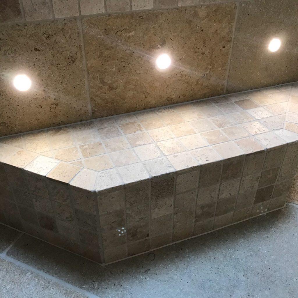 Travertine mosaic bathroom Tiling