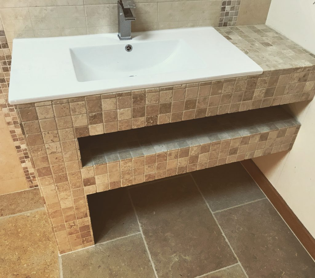 Travertine mosaic bathroom Tiling