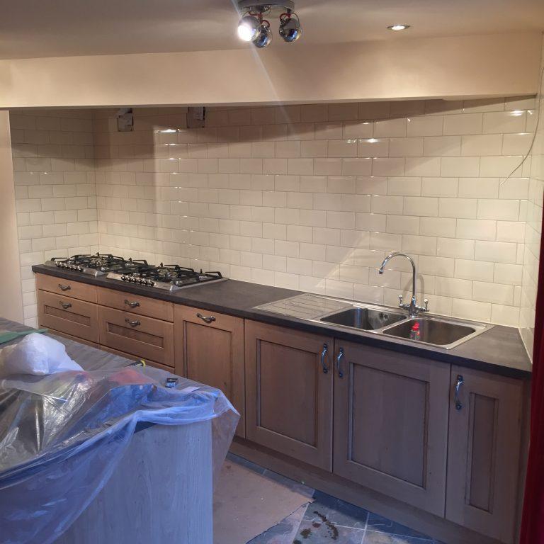 Metro tiles in chefs kitchen Derbyshire Matlock