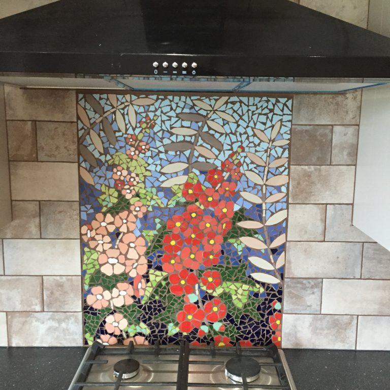 Hand made mosaic kitchen splash back in Derbyshire