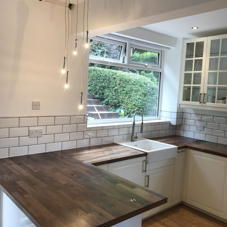 White Metro tiles in kitchen Sheffield