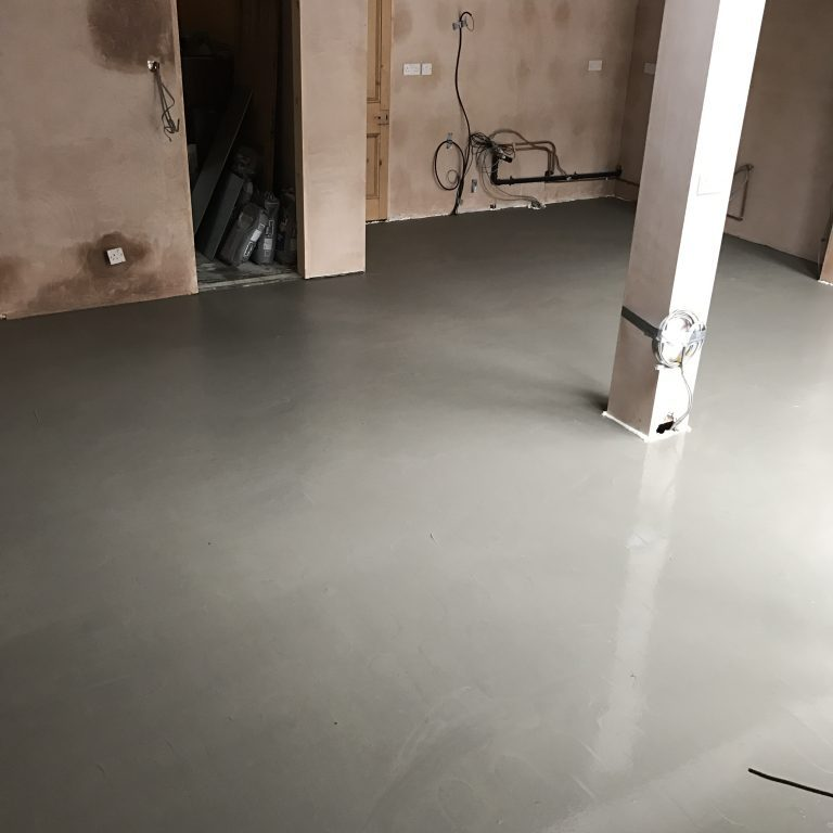 Floor levelling over underfloor heating in Derbyshire